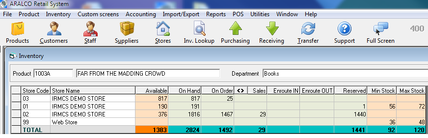 Inventory Look-Up On Hand Qty in Grid Matrix