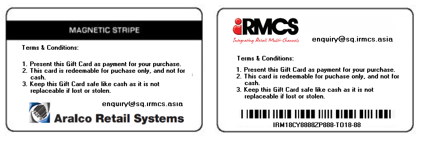 Back view of Gift Card. Beside magnetic stripe, bar code can be applied for gift card number.